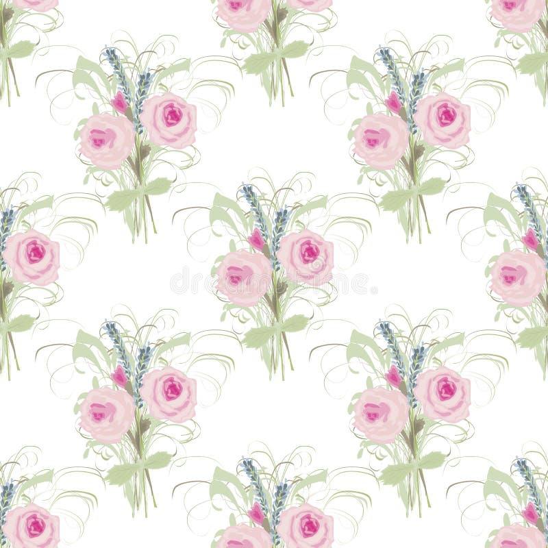 与玫瑰和淡紫色豪华的花束的无缝的花卉背景  库存例证