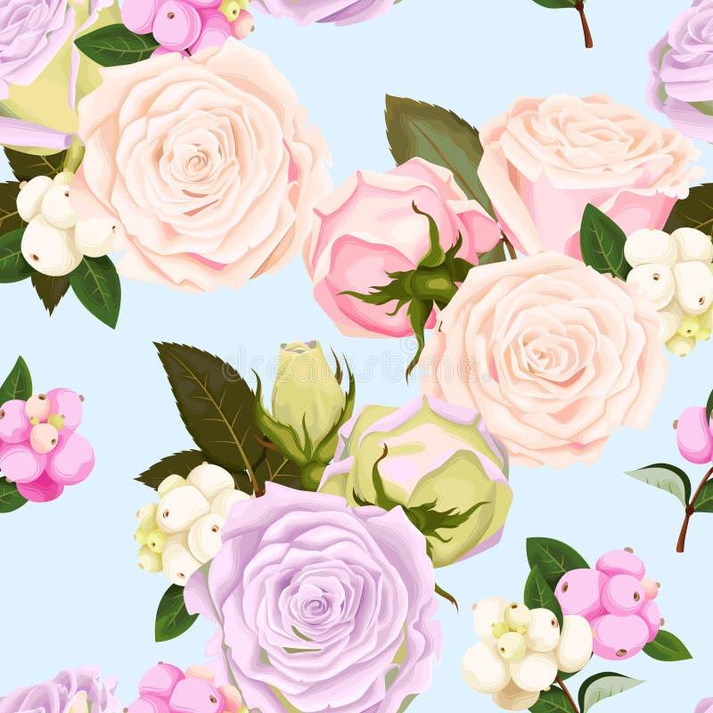 与玫瑰和莓果的无缝的样式 向量例证