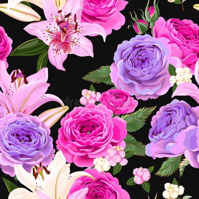 与玫瑰和莓果的无缝的样式 皇族释放例证