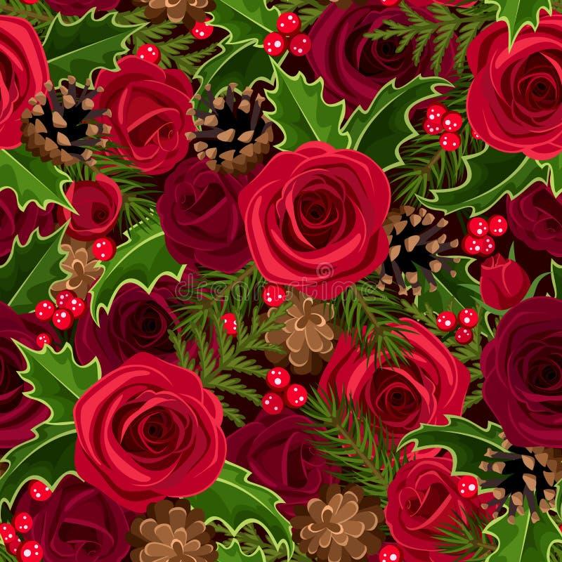 与玫瑰和霍莉的圣诞节无缝的背景。 库存例证