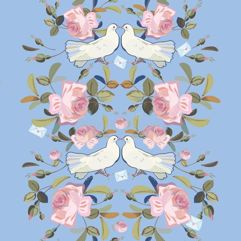 与玫瑰和鸠的蓝色边界 库存例证