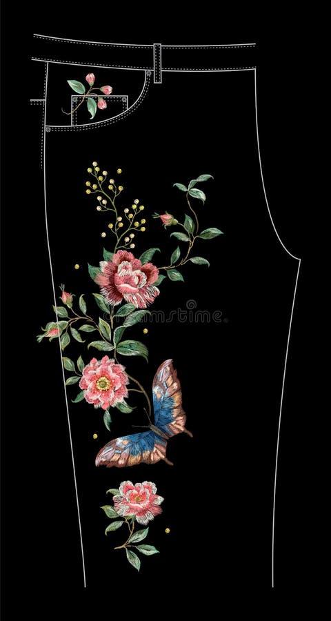 与玫瑰和蝴蝶的刺绣牛仔裤花卉样式 皇族释放例证