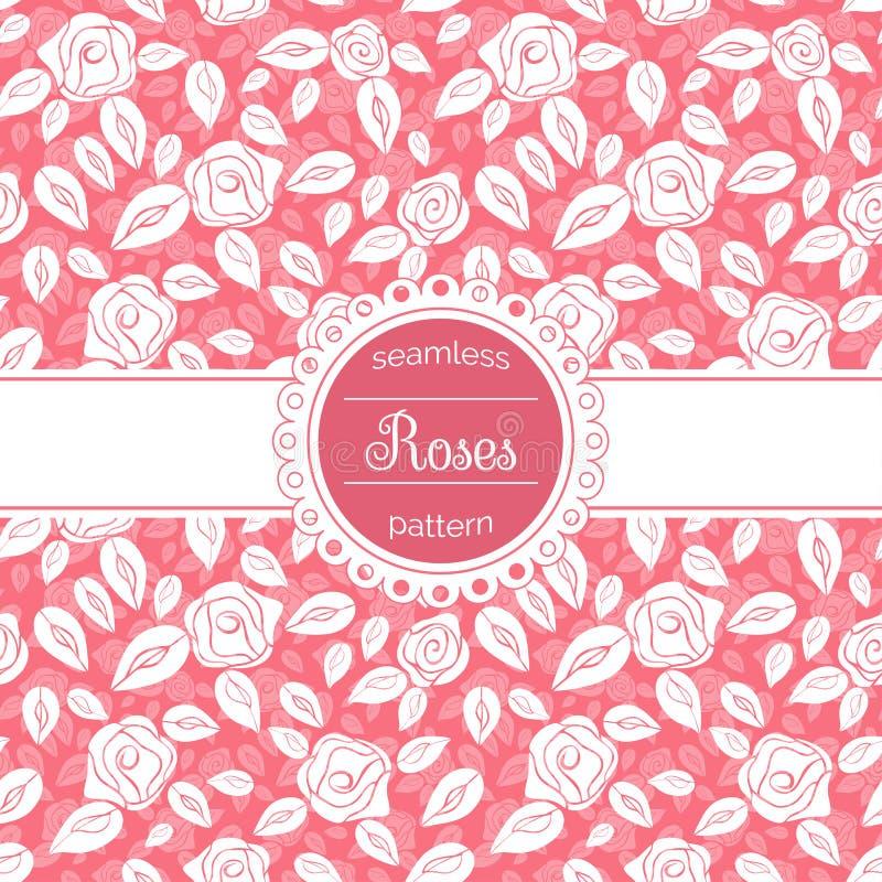 与玫瑰的传染媒介花卉无缝的样式 皇族释放例证