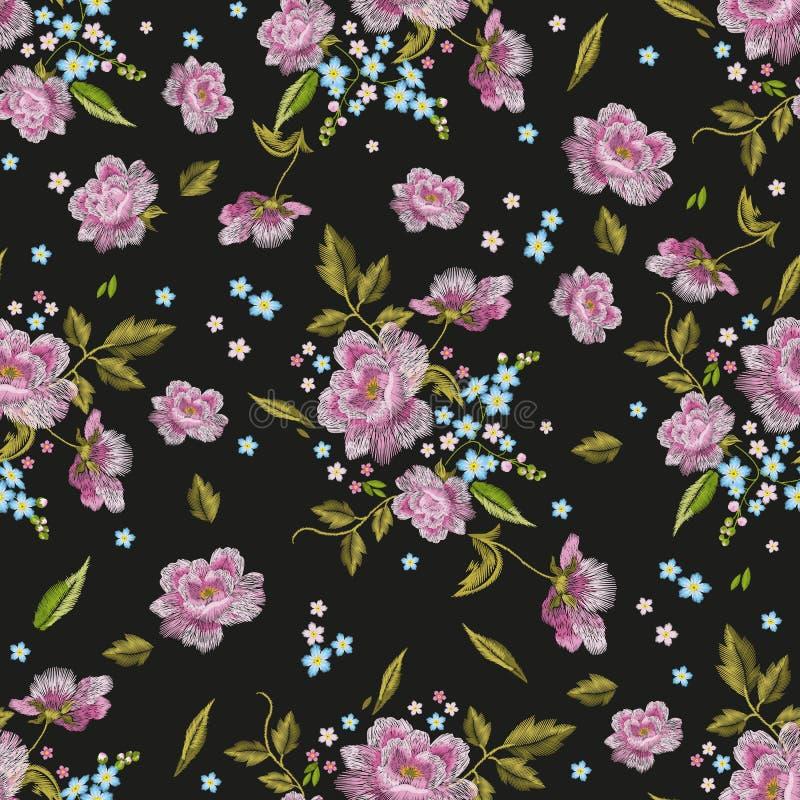与玫瑰的刺绣五颜六色的无缝的样式和忘记我n 向量例证