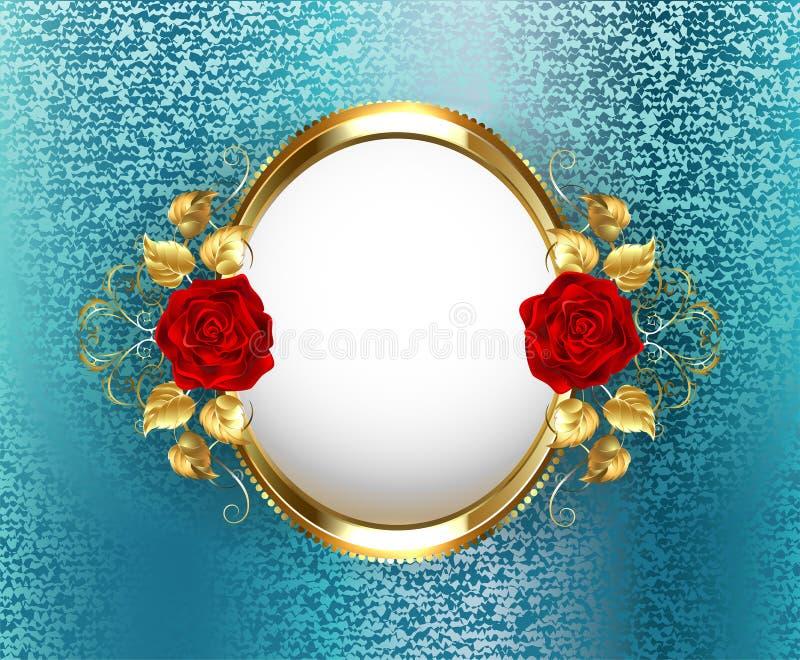与玫瑰的卵形框架 向量例证
