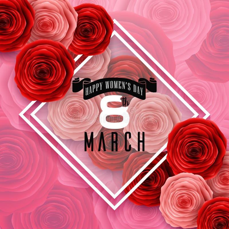 与玫瑰的国际愉快的妇女` s天在花纹花样背景的贺卡和框架 库存例证