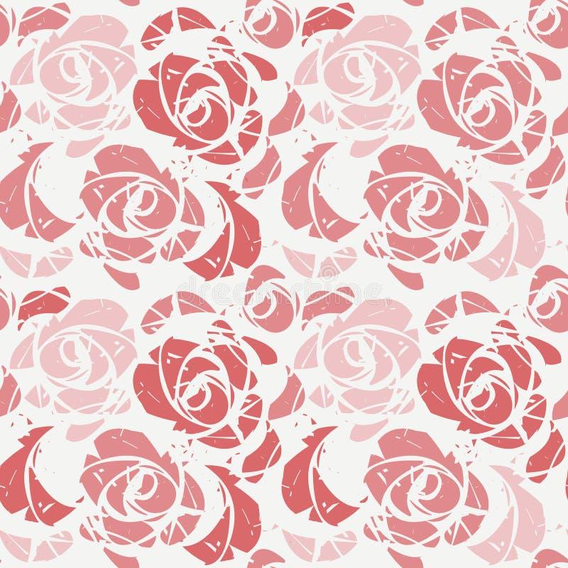 与玫瑰的抽象无缝的样式 向量例证