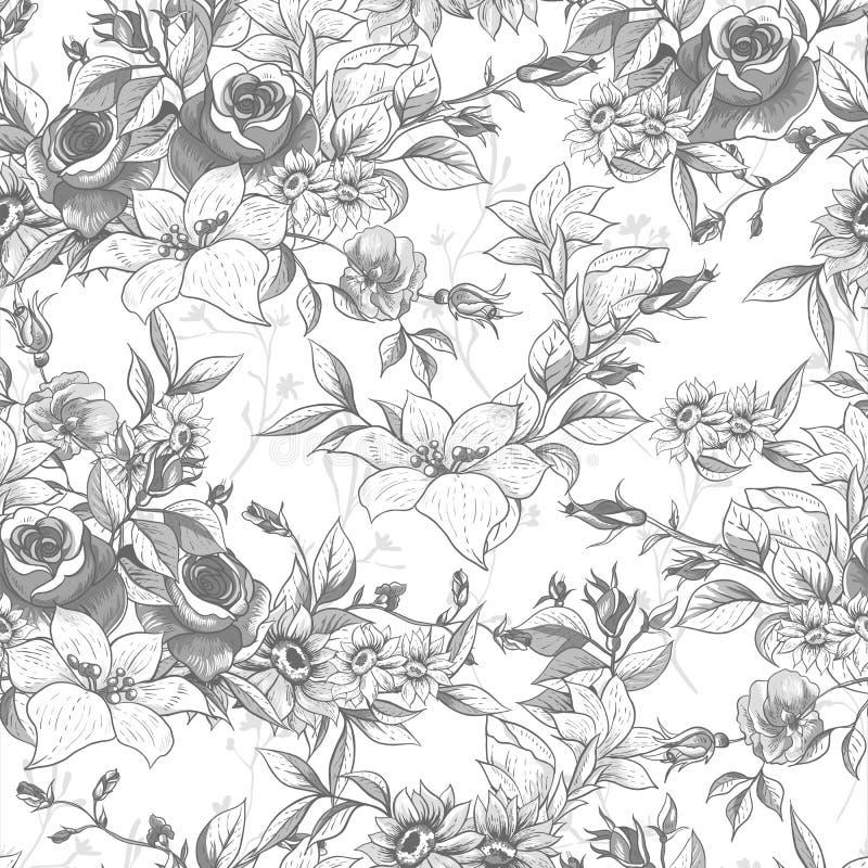 与玫瑰的无缝的单色花卉背景 皇族释放例证