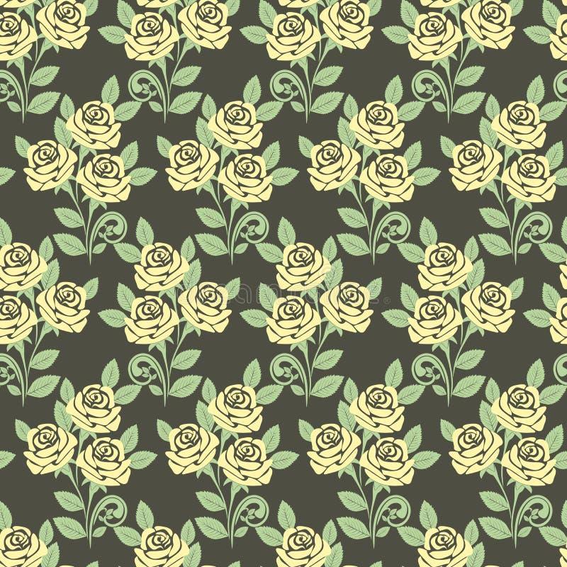 与玫瑰的无缝的样式反对一黑暗的backgro 向量例证