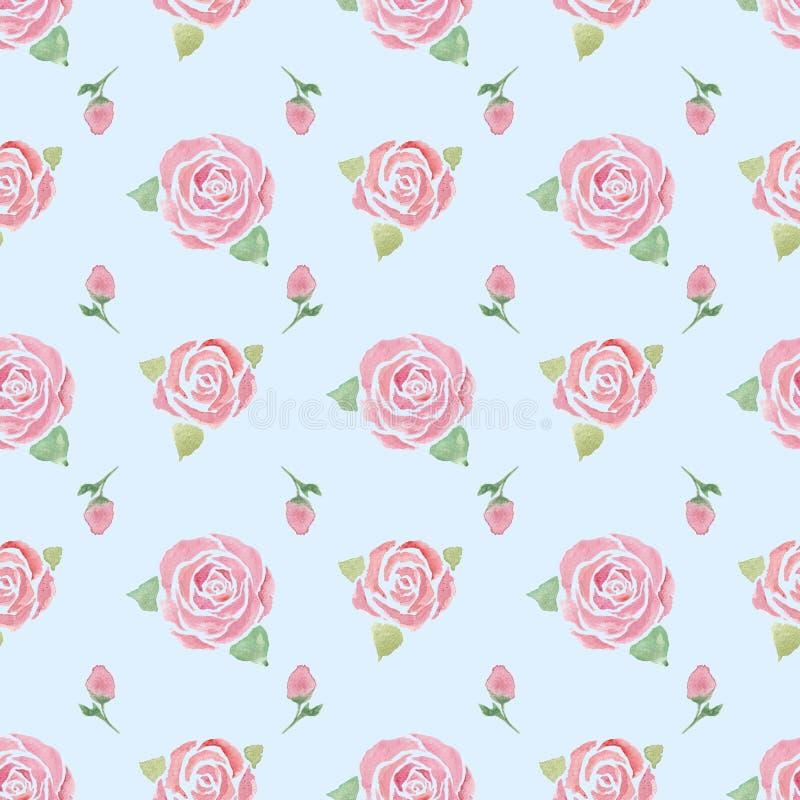 与玫瑰的无缝的样式在蓝色 皇族释放例证