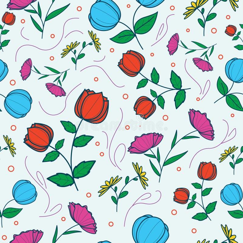 与玫瑰的无缝的样式在非常美好的颜色 与花装饰品的无缝的样式 向量例证