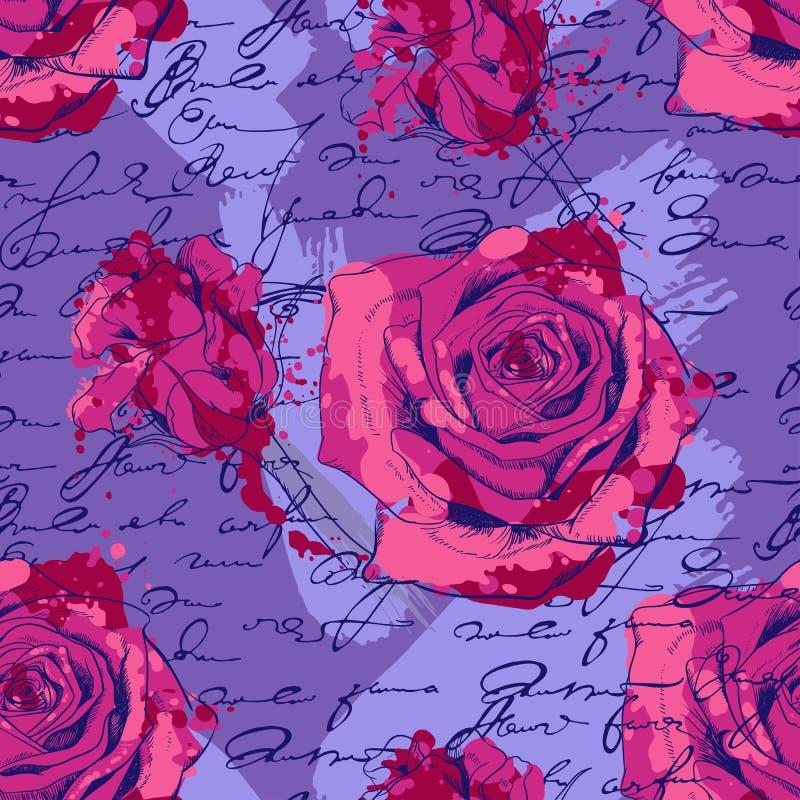 与玫瑰的无缝的样式,手写和 向量例证