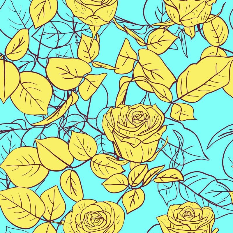 与玫瑰的无缝的样式 向量例证