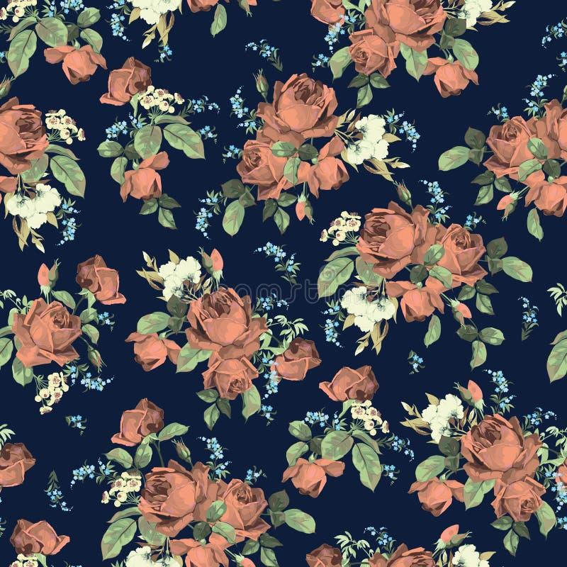 与玫瑰的无缝的花卉样式在黑暗的背景, watercolo 皇族释放例证