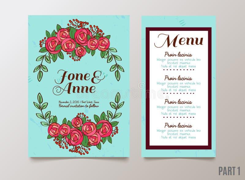 与玫瑰的时髦卡片婚礼的,保存日期邀请, RSVP并且感谢您卡片 向量例证