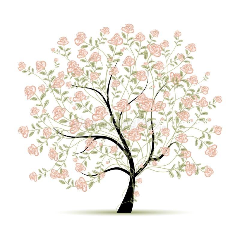 与玫瑰的春天树您的设计的图片