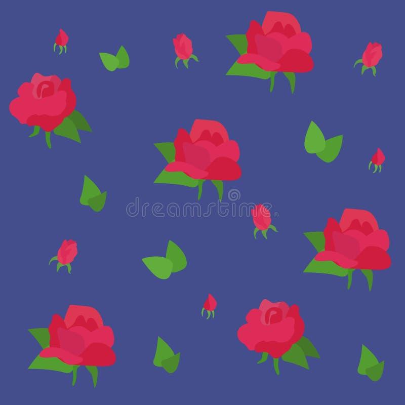 与玫瑰的浪漫花卉无缝的样式 库存例证