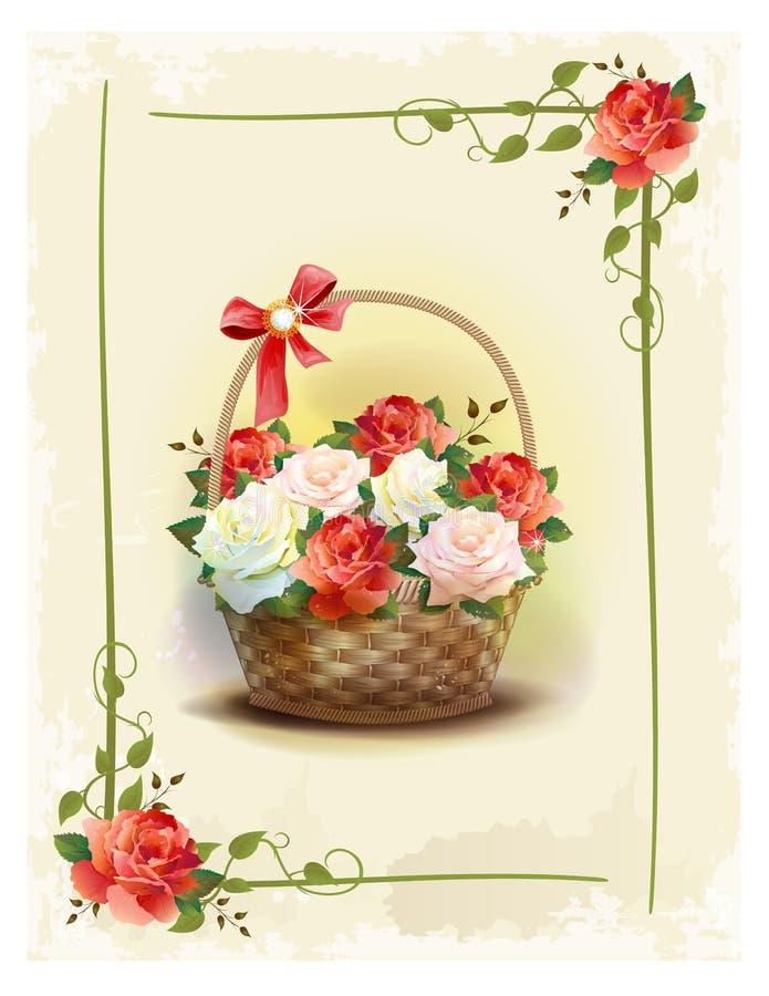与玫瑰的篮子 库存例证