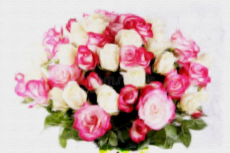 与玫瑰的美丽的新娘花束在白色背景,水彩样式 皇族释放例证