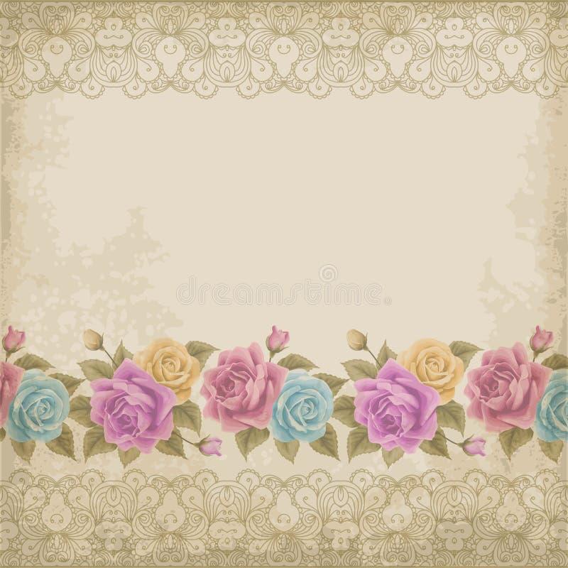 与玫瑰的老纸背景 向量例证