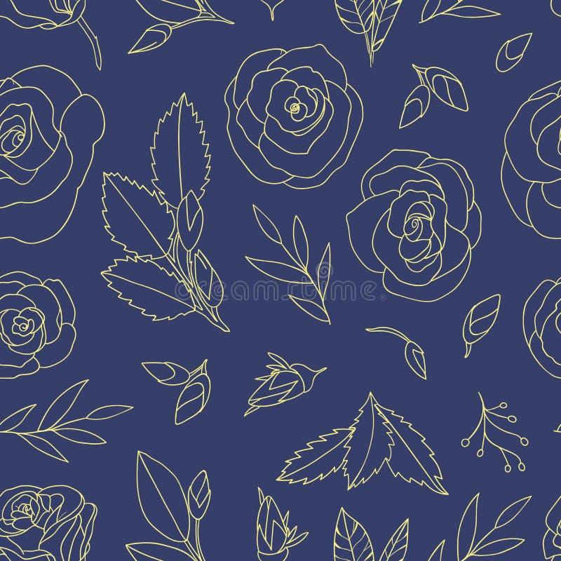 与玫瑰的色的无缝的样式 向量例证