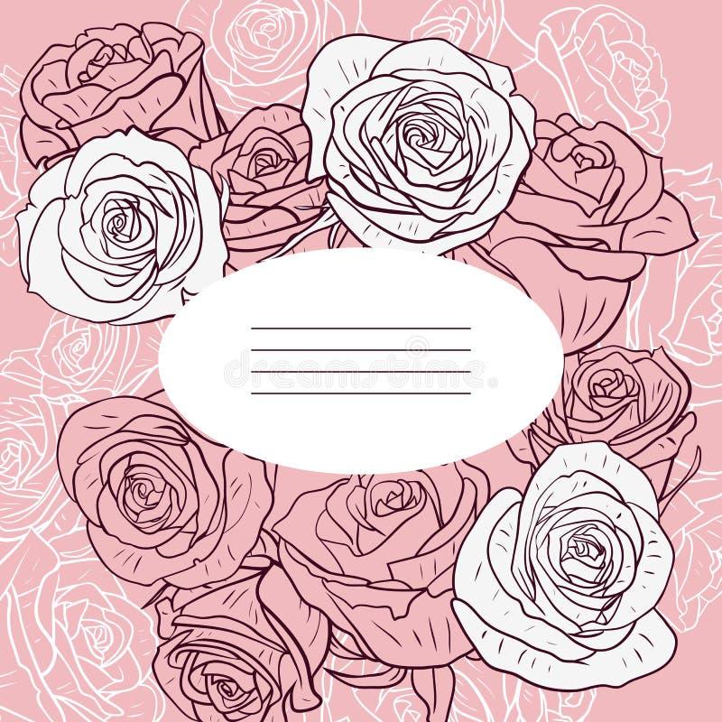 与玫瑰的花卉卡片 向量例证