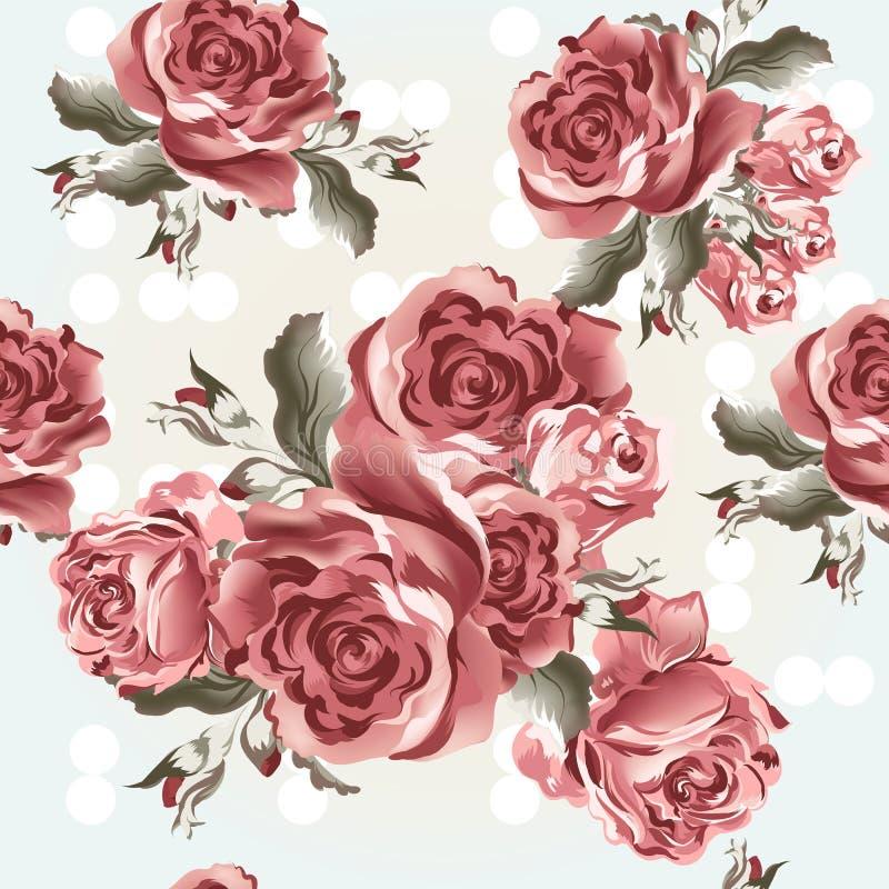 与玫瑰的花卉无缝的传染媒介墙纸样式在葡萄酒s 库存例证