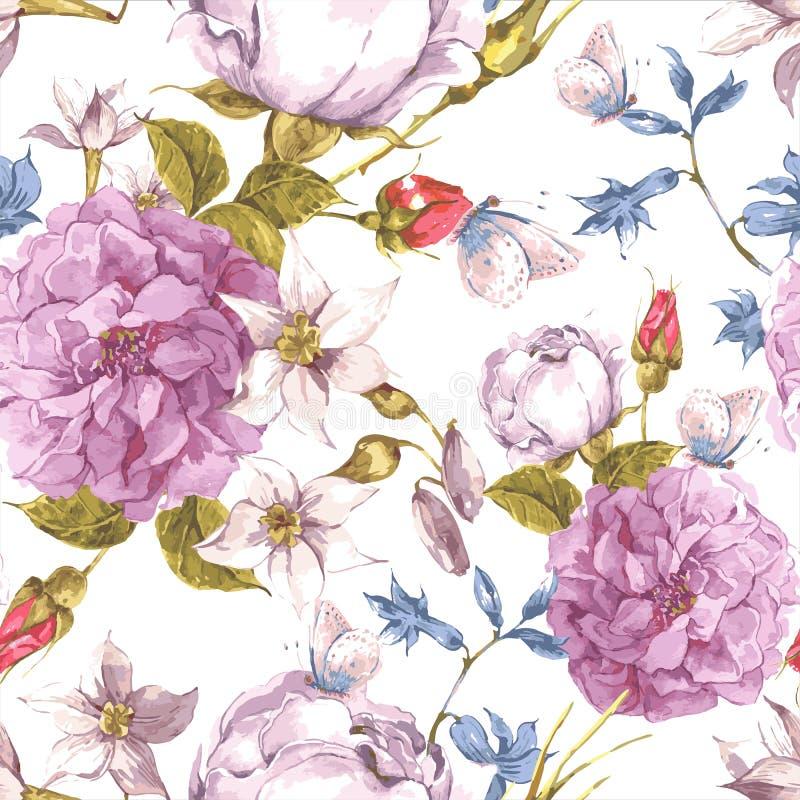 与玫瑰的花卉无缝的葡萄酒背景 向量例证