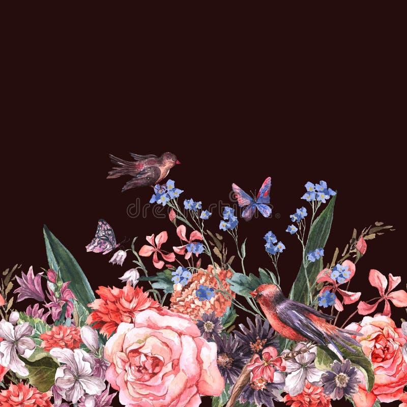 与玫瑰的花卉无缝的水彩边界 向量例证