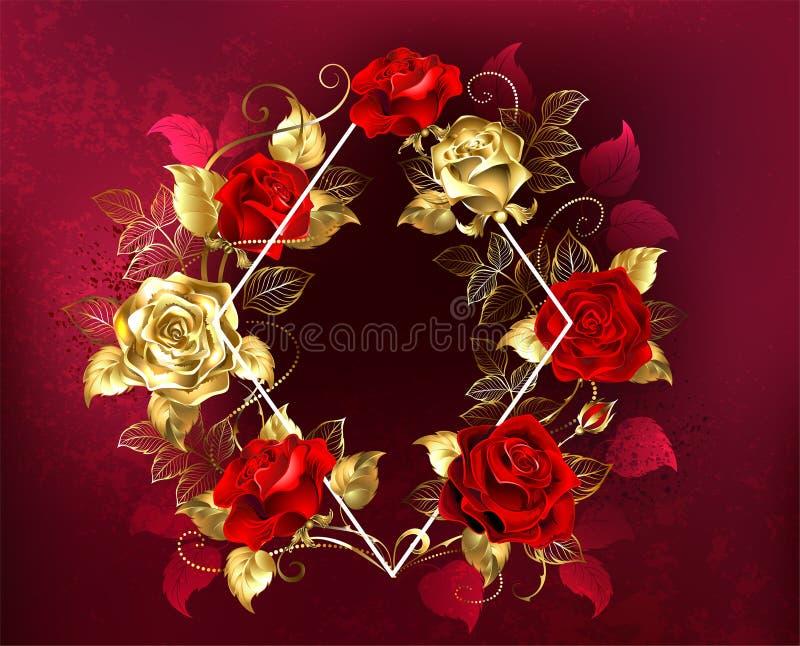 与玫瑰的菱形 库存例证