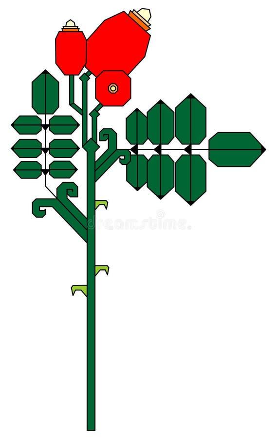 与玫瑰的装饰分支 皇族释放例证