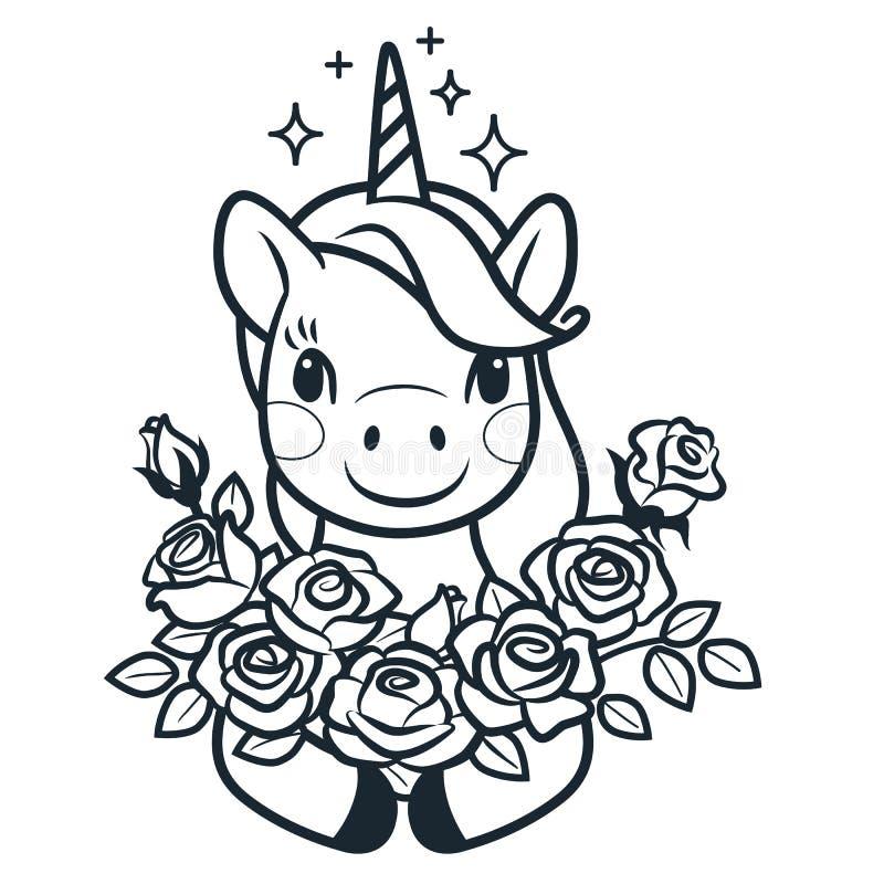 与玫瑰简单的动画片传染媒介上色页例证的逗人喜爱的独角兽 简单的线乱画象现代风格设计 向量例证