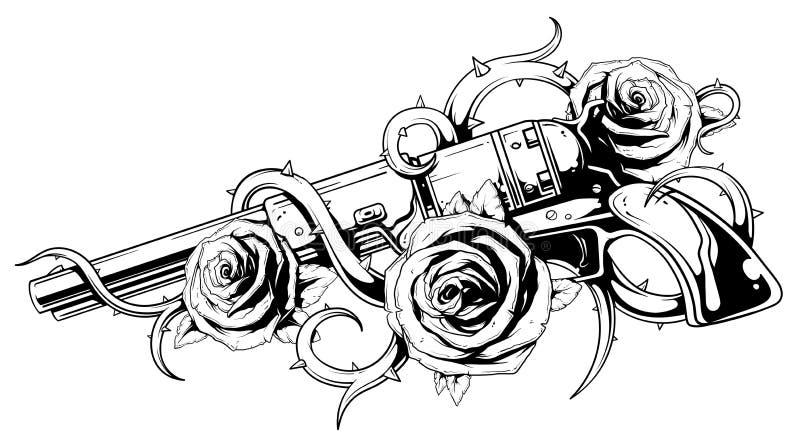 与玫瑰纹身花刺的葡萄酒左轮手枪 库存例证