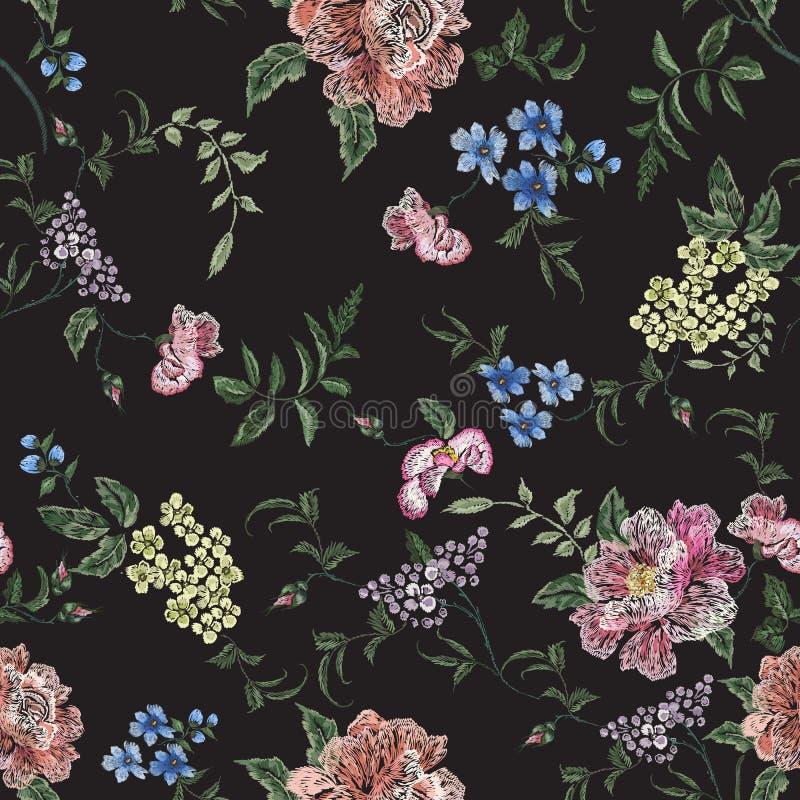 与玫瑰色分支,紫罗兰的刺绣花卉无缝的样式 库存例证