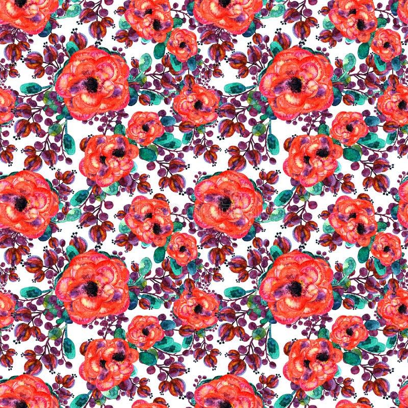 与玫瑰色和叶子的水彩无缝的样式 红色花绿色叶子,在白色背景 花卉不尽的艺术品 免版税库存图片