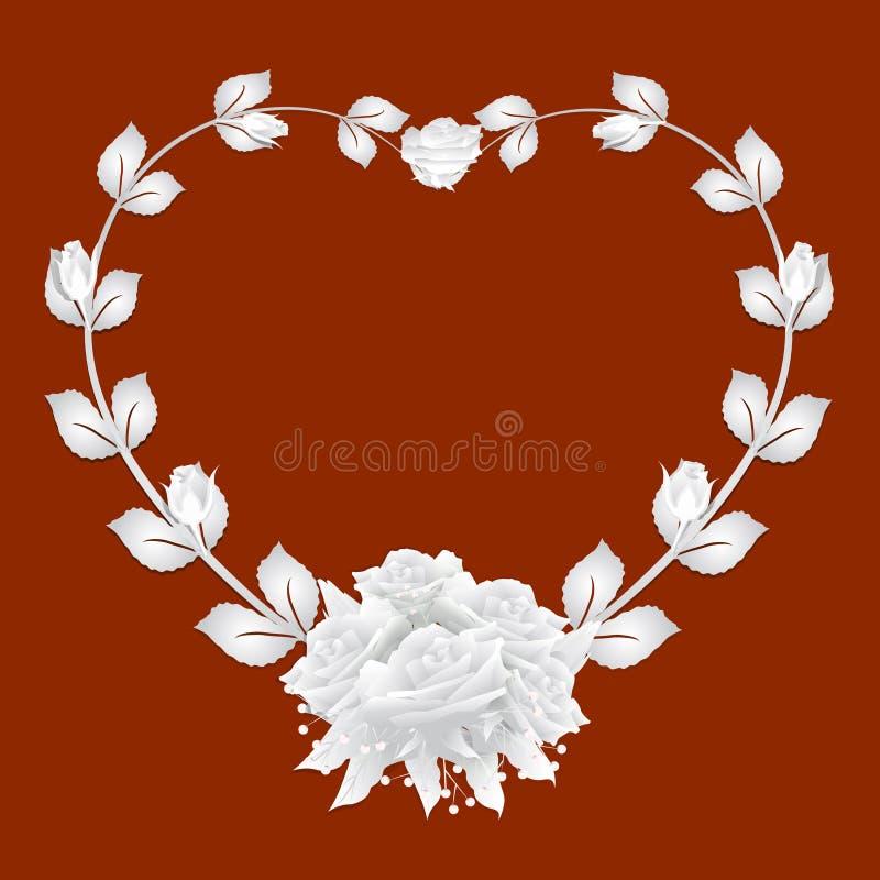 与玫瑰色常春藤和玫瑰花束的心脏框架在红色背景 向量例证