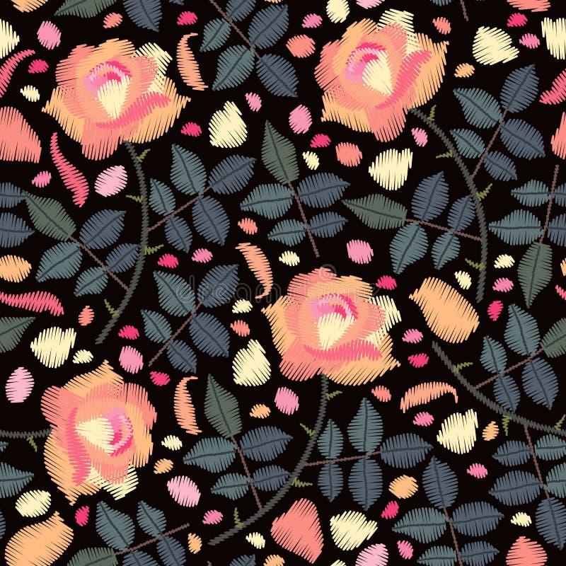 与玫瑰色花、瓣和叶子的刺绣无缝的样式在黑背景 织品的时尚设计 刺绣品印刷品 皇族释放例证