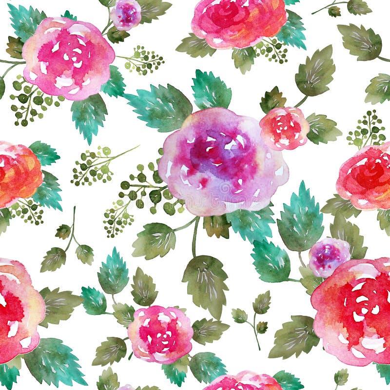与玫瑰色花和叶子的葡萄酒花卉无缝的样式 不尽纺织品的墙纸的印刷品 手拉的水彩 皇族释放例证