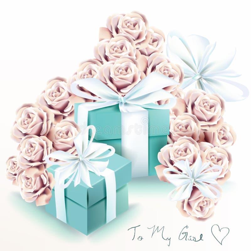 与玫瑰色花和蓝色礼物盒的逗人喜爱的时尚例证 库存例证
