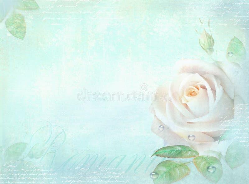 与玫瑰色花的卡片在轻的绿松石背景 邀请、婚礼、生日、周年或者相似的事件的模板, 皇族释放例证