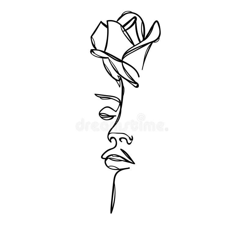 与玫瑰色花的妇女面孔 实线图画 也corel凹道例证向量 皇族释放例证