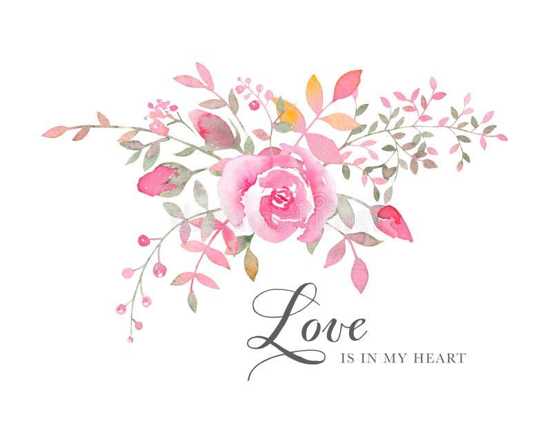 与玫瑰色花的手画水彩安排 皇族释放例证