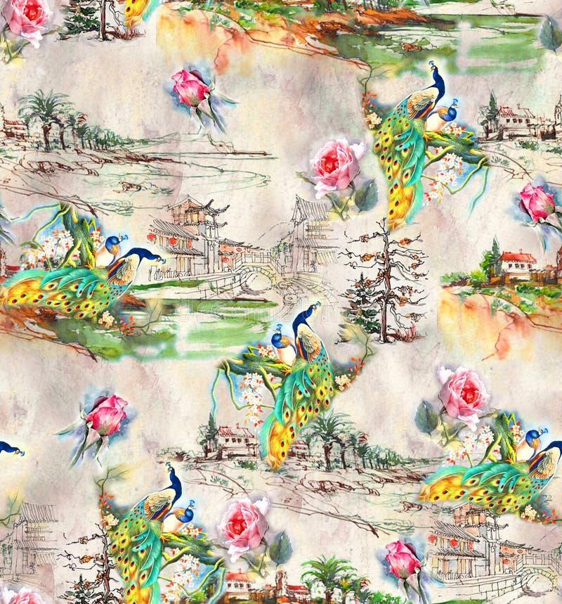 与玫瑰色花的无缝的抽象自然背景孔雀 库存例证