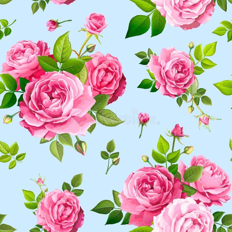 与玫瑰色花的无缝的样式 皇族释放例证