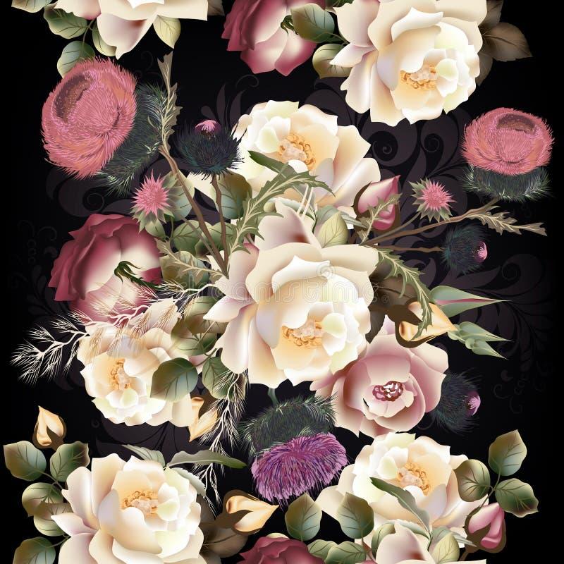 与玫瑰色花的植物的花卉样式设计的 理想为 皇族释放例证