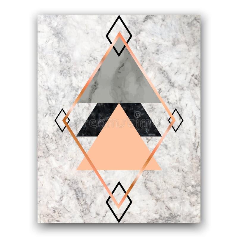与玫瑰色金子三角和六角形的大理石背景 Geometr 皇族释放例证