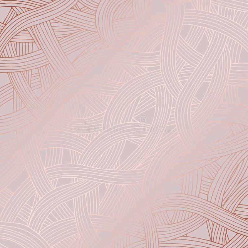 与玫瑰色金模仿的抽象样式表面设计的  向量例证