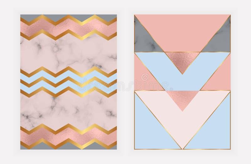 与玫瑰色金箔和大理石纹理的时尚几何设计 卡片的现代背景,庆祝,飞行物,社会媒介,禁令 皇族释放例证