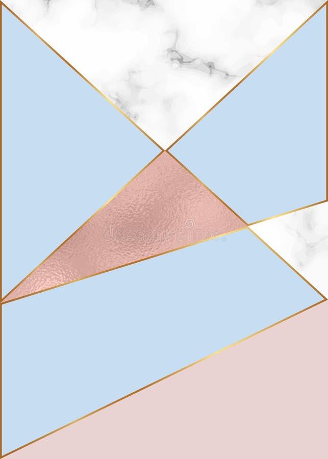 与玫瑰色金箔和大理石纹理的时尚几何设计 卡片的现代背景,庆祝,飞行物,社会媒介,禁令 库存例证