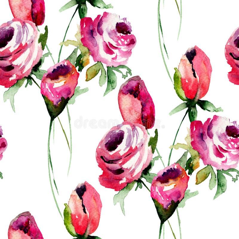 与玫瑰花的无缝的墙纸 向量例证